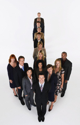 Group of Businesspeople Making Arrow